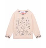Oilily Hakkel biokatoen sweater roze met geborduurde tattoo-