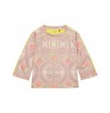 Oilily Hanne roze sweater van scuba materiaal met paisley print- beige