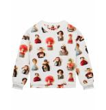 Oilily Holala biokatoen off- sweater met urker dolls print- wit