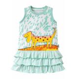 Oilily Jersey jurk tooftoof voor meisjes groen- wit
