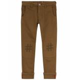 Oilily Piek legergroene 5 pocket broek met #hashtag knieën-