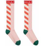 Oilily Mappie kniesokken roze met streepmotief en logo-