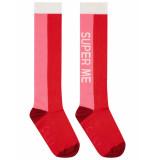 Oilily Moos kniesokken roze rood met super me tekst-