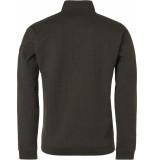 No Excess Sweater, full zip su collar, double moss groen