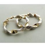 Christian 14 karaat bicolor gouden gedraaide oorbellen geel goud