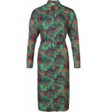 Geisha 97818-20 530 jurk all over print leaves with belt green red combi