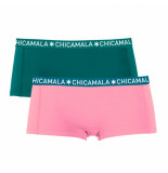 Muchachomalo Girls 2-pack short solid/solid roze