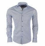 Dom Tower Heren overhemd stretch gestreept zwart wit