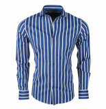Dom Tower Heren overhemd stretch gestreept blauw wit
