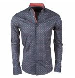 Dom Tower Heren overhemd met trendy design stretch grijs