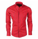 Dom Tower Heren overhemd stretch gestreept zwart rood