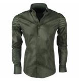 Dom Tower Heren overhemd stretch gestreept zwart groen
