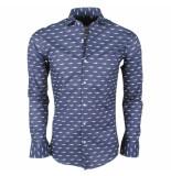 Dom Tower Heren overhemd met trendy design stretch navy blauw