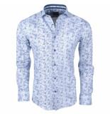 Enrico Polo Heren overhemd met trendy design stretch grijs
