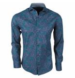 Enrico Polo Heren overhemd met trendy bloemen design stretch zwart