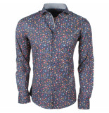 Enrico Polo Heren overhemd met trendy design stretch zwart blauw