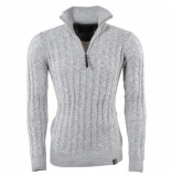 Indicode Heren trui met hoge kraag fijn gebreid rufus offwhite wit