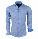 Enrico Polo Heren overhemd stretch gestreept navy wit blauw