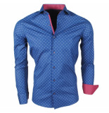 Enrico Polo Heren overhemd met trendy design stretch blauw