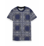 Scotch & Soda 153808 0220 allover printed short sleeve tee combo d blauw