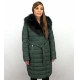 Gentile Bellini Lange dames winterjas parka – met bontkraag – groen zwart