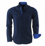 Gasparo Heren overhemd met motief 2knoops kraag slimfit blauw