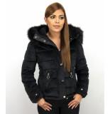 Z-design Winterjas suede met bontkraag zwart