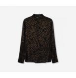 Alix 197985370 ladies woven tiger chiffon blouse zwart
