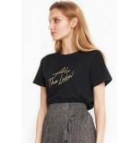 Alix 197891372 ladies knitted embroidered t-shirt zwart
