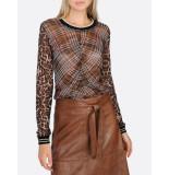 Summum 3s4312-30093 long sleeve leopard print mesh