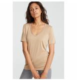 YAYA 190961-921 basic v-neck t-shirt beige