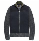 PME Legend Pkc198320 9077 zip jacket cotton mouline mix total eclipse blauw