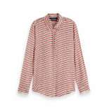 Scotch & Soda 154421 0461 regular drapey shirt in seasonal patterns combo g rood