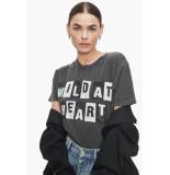 Anine Bing T-shirt sild at heart zwart