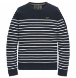 PME Legend Crewneck cotton stripe total eclipse blauw