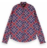 Maison Scotch Cotton allover printed shirt blauw