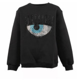 Chiara Ferragni Sweatshirt kids logo strass zwart