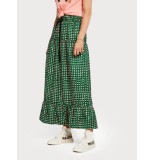 Maison Scotch 149930 tiered printed maxi skirt groen