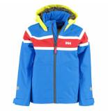 Helly Hansen Kinder zeiljas k salt jacket met gele capuchon blauw