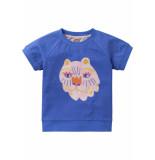 Oilily Jersey blauw shirtje met all-over dotsprint en leeuw-