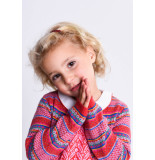 Oilily Kikido knitted cardigan 20 -blue jacquard- rood