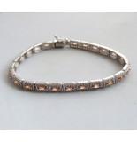 Christian 14 karaat gouden armband met zirkonia en citrien wit goud