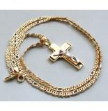 Christian Gouden collier met kruishanger