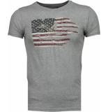 Bread & Buttons Amerika vlag borduur grijs