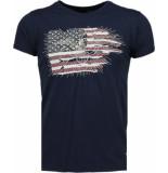 Bread & Buttons Amerika vlag borduur t-shirt