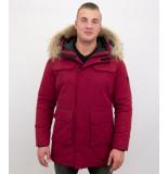 Enos Parka heren winterjas met grote echte bontkraag – rood
