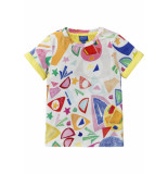 Oilily Geel jersey shirt met cut-out print matisse style- wit