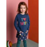Oilily Heliot sweater 53 solid indigo with i love wifi- blauw