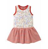Oilily Jersey jurkje met rood wit streepje en artistieke print-