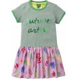 Oilily Jersey jurkje roze met streep en artist print-